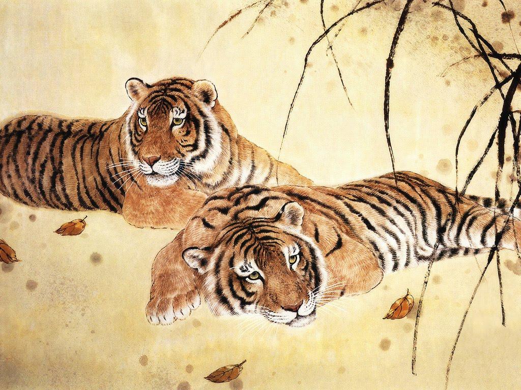 Ancient chinese tiger drawing - photo#4