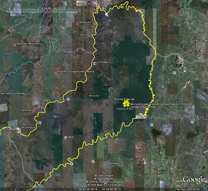 Mapa Pcia. Misiones y Aldeas mbya guaraníes