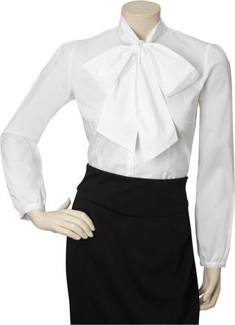 Perfect  White Shirt Black Tie Chiffon Blouse Women Bow Tie Blouse Tops CS11