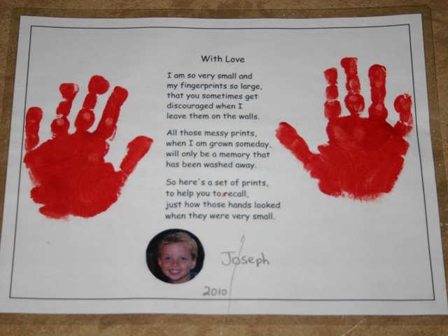 the children made these handprint gifts for their parents this is my sons i had seen the poem on several sites and decided it would be a sweet gift for