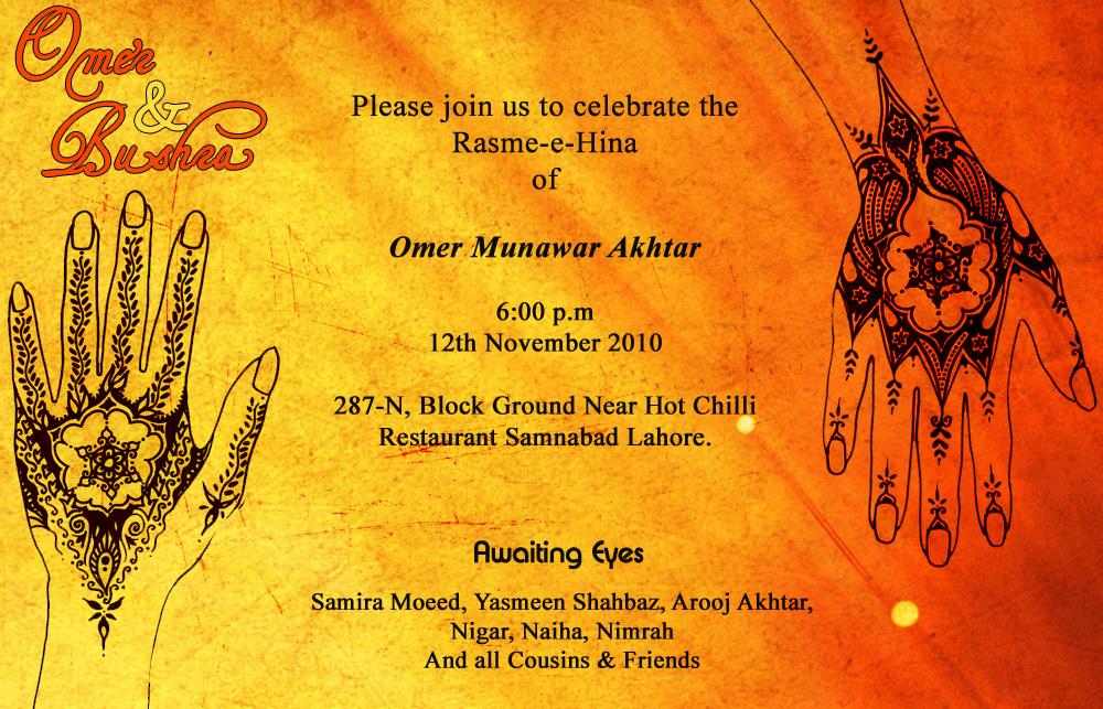 Wishes For Mehndi Ceremony : Mehndi invitation card designs wording ceremony