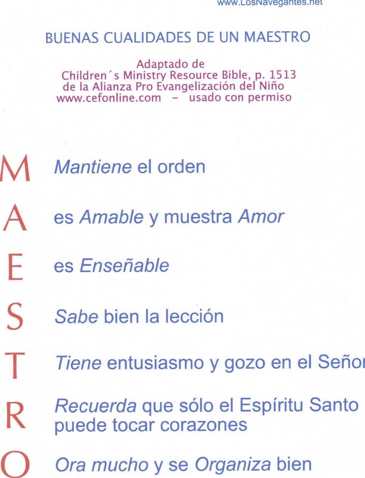 Maestro De Escuela Dominical Para Ninos
