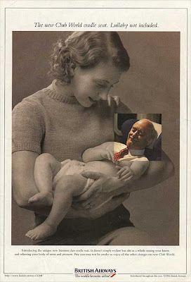 British Airways full-page ad showing a vintage photo of a young mother cradling an infant. The baby's head has been replaced with a color photo of a white-haired man's head. He's asleep