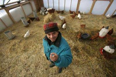 Reginaldo Haslett-Marroquin in one of his solar-heated hoop hen houses