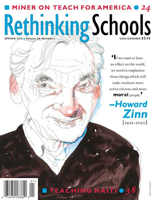 Rethinking Schools magazine cover with illustration of Howard Zinn