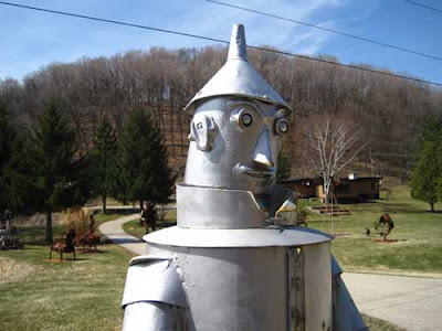 Silver tin woodsman head and shoulders
