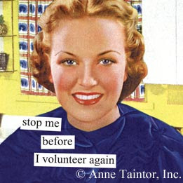 Fresh-faced 1940s woman, with headline Stop me before I volunteer again