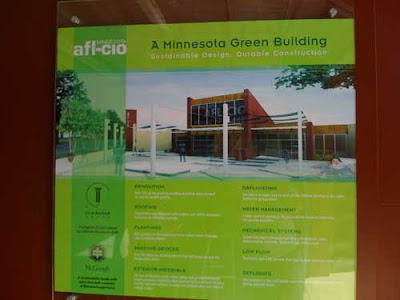 Poster showing the AFL-CIO building and describing its green aspects