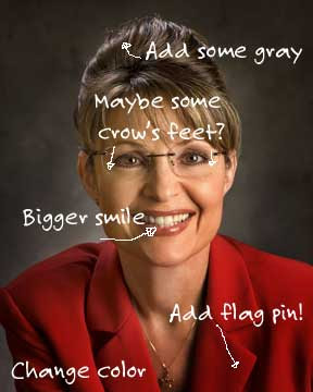 Official portrait of Governor Sarah Palin with white editorial changes marked, including Add flag pin!