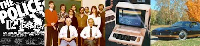 Collage of 1982 images -- a Police poster, Apple II, black TransAm and a bunch of people in early 80s fashions