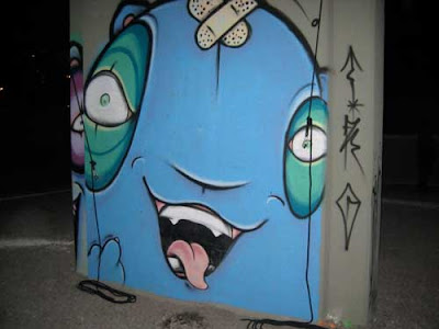 Spray-painted blue hamster about 6 x 6'