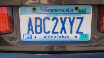Minnesota license plate reading ABC2XYZ