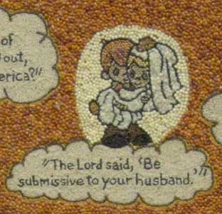 Close up of bride and groom with quote, The Lord said 'Be submissive to your husband.'