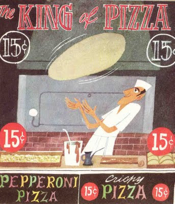 Illustration of a man dressed in white, making a pizza in a shop window