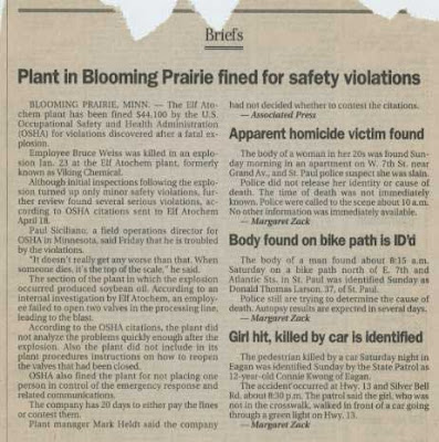 Short newspaper story with headline: Plant in Blooming Prairie fined for safety violations