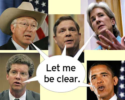 Collage of Obama and four cabinet members sharing a word balloon that says Let me be clear.