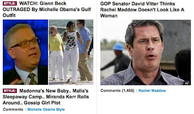 Screen snap of two Huffington Post stories