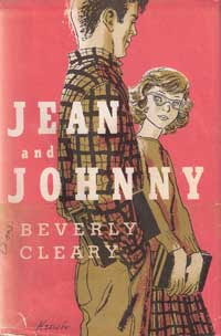 Original pink cover of Jean and Johnny with ink wash line art of a boy and girl