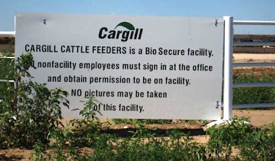 Cargill sign warning that no photos are allowed of the CAFO because it is a Bio-Secure Facility