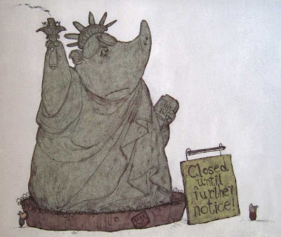 Statue of Liberty as a pig, surrounded by a fence, with a sign saying Closed until further notice