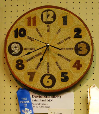 Clock with a different type of seed for each number, each one labeled