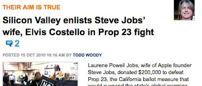 Silicon Valley enlists Steve Jobs' wife, Elvis Costello in Prop 23 fight