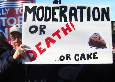 Moderation or death (or cake), marker and collage on poster board