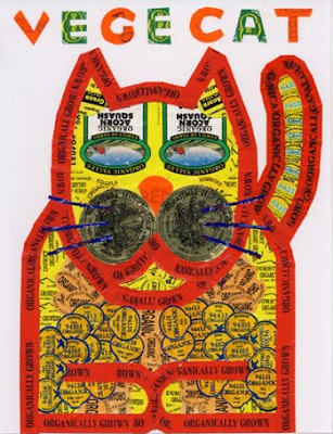 Yellow and red cat art, made from fruit stickers