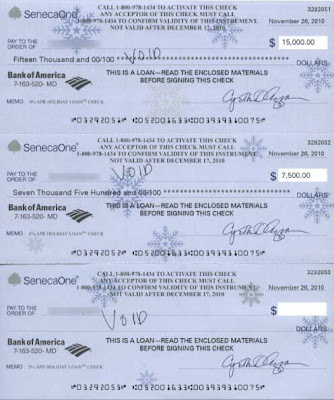 Three checks, one for $15,000, one for $7,500 and one blank, from SenecaOne