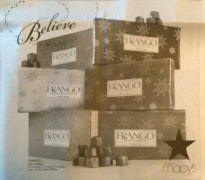 Macy's ad with Believe headline and six boxes of Frango mints