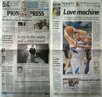 Pioneer Press 12-24-10 front page compared to the sports front page