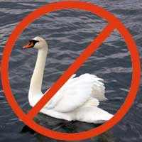 White swan with red circle around it and diagonal line through the circle