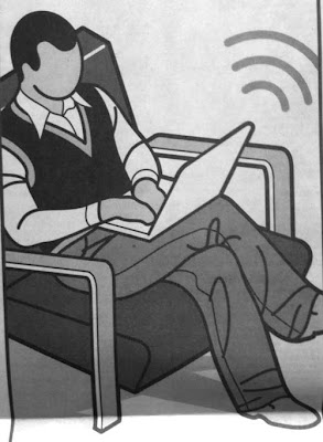 Black and white drawing of a faceless man sitting in an upholstered chair using a laptop