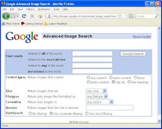 Google Advanced Image Search page