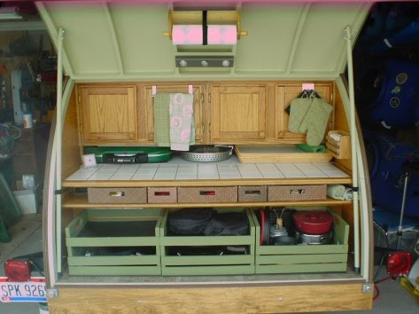 Aunt barb 39 s teardrop trailer project the galley area for Teardrop camper kitchen ideas