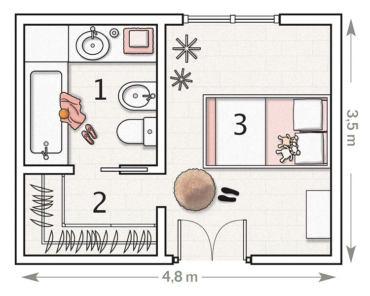 Fotos y dise o de dormitorios todos los estilos planos de dormitorios de una estupenda p gina - Planos de cuartos de bano ...