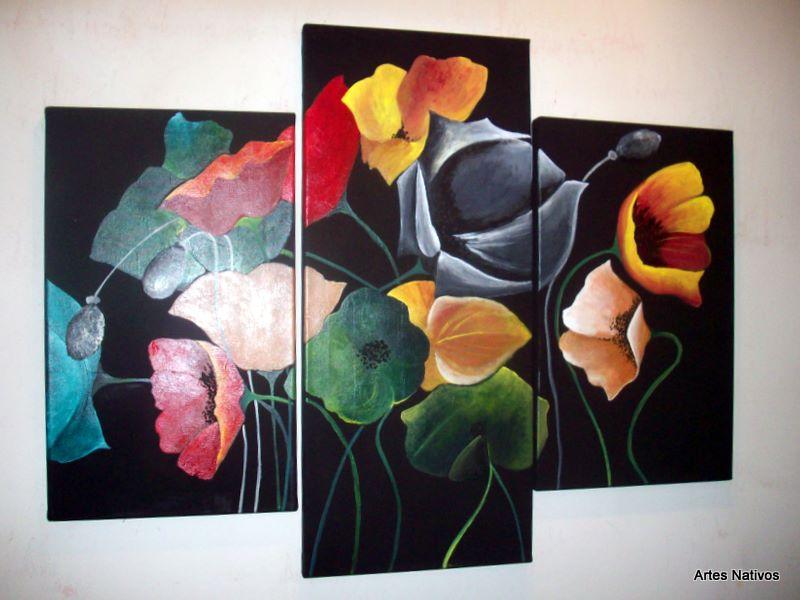 Cuadros modernos tripticos polipticos florales abstractos - Bimago cuadros modernos ...
