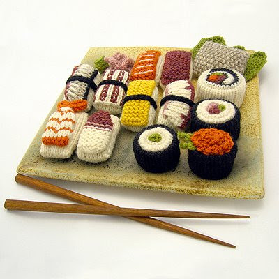 Knitted Sushi from Needle Noodles