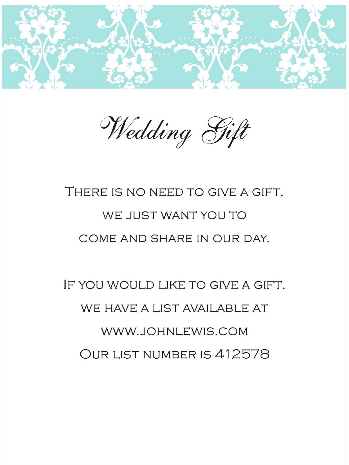 Wedding Gift Registry Wording : Wedding Gift Card