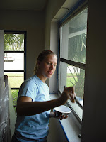 Jen paints in the guest room