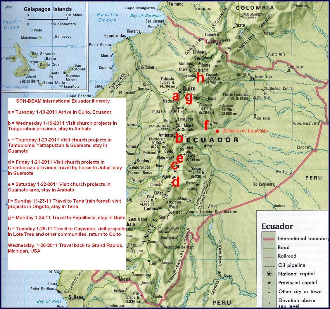 map of ecuador and trip itinerary