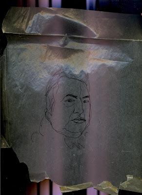 Portrait de l'humoriste Raymond Devos, dessin au trait noir sur fond mauve.