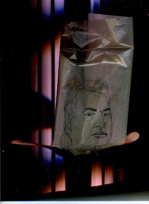 Portrait de l'humoriste Raymond Devos, dessin au trait noir sur calque froissé.