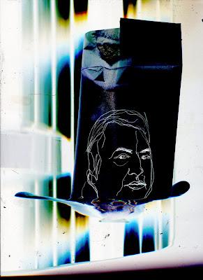Portrait de l'humoriste Raymond Devos, dessin au trait blanc sur fond noir.