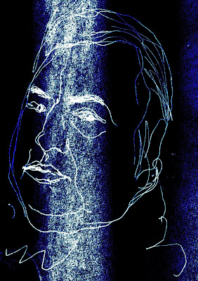 Portrait de l'humoriste Raymond Devos, dessin au trait blanc sur fond outremer.