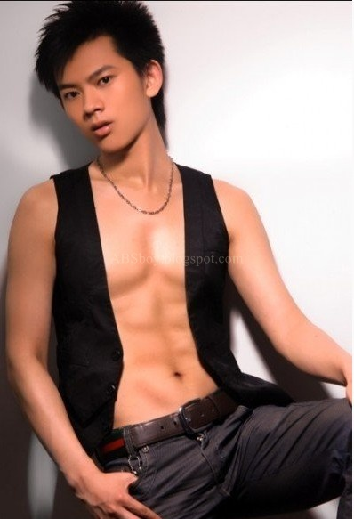 Asian Teen Male Model with ABS stomach