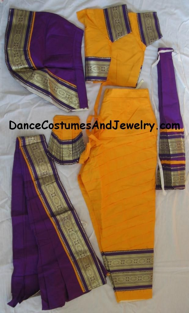 Below we have shown some art silk material Bharatanatyam costumes.