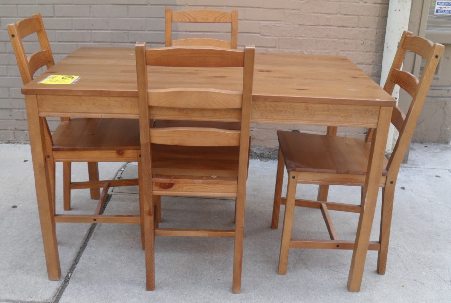 Solid Pine Table U0026 Chairs By IKEA   SOLD