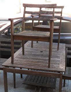 Uhuru Furniture & Collectibles: Weathered Teak Outdoor Set SOLD