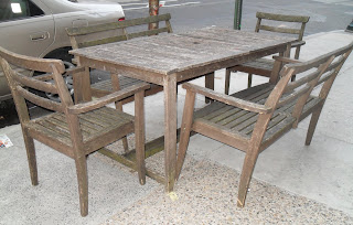 Uhuru Furniture & Collectibles: Weathered Teak Outdoor Set SOLD